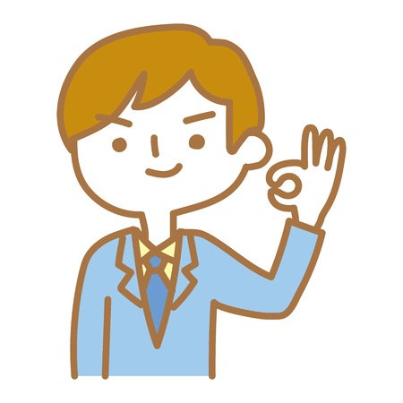 Businessman issuing an okay sign Illustration