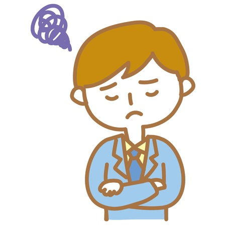 Businessman hold thoughtful heads Illustration