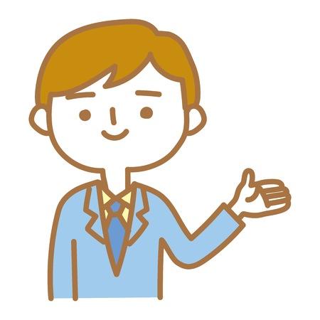 A businessman explaining