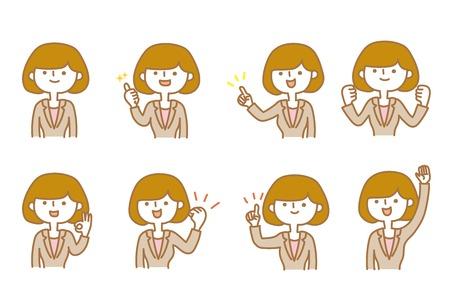 Businesswoman Various facial expressions Stock Illustratie