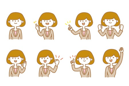 Businesswoman Various facial expressions Illustration