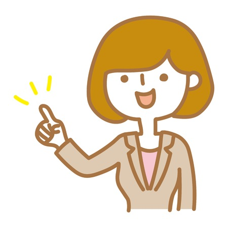 A businesswoman who points out and explains Illustration