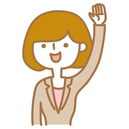 Businesswoman lifting hands
