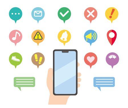 Set illustration of smartphone notification icons