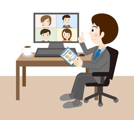 Businessman having an online meeting Векторная Иллюстрация
