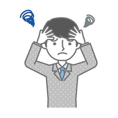 A very depressed businessman holding his head Illustration