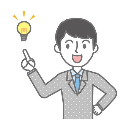 Businessman pointing out important points and explaining Illustration