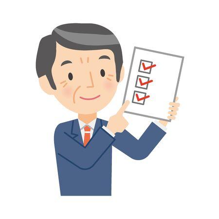 Illustration of a senior businessman with a checklist 向量圖像