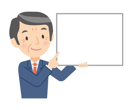 Illustration of a senior businessman explaining with a whiteboard