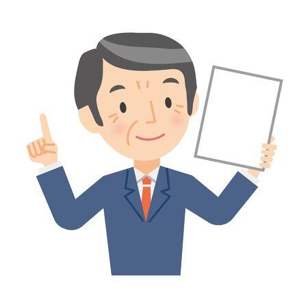Senior businessman with paperwork 向量圖像