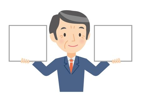 Illustration of a senior businessman holding a whiteboard in his hands 向量圖像