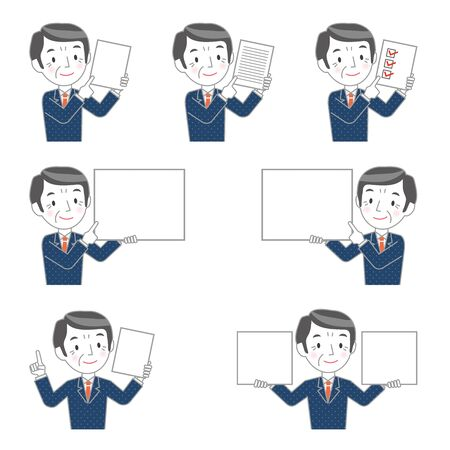 Illustration of multiple versions of a senior businessman with a board