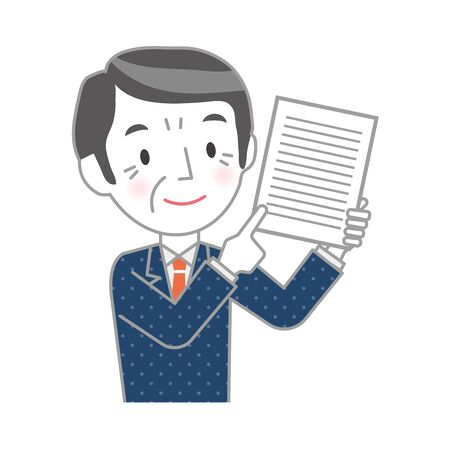 Illustration of a senior businessman with documents 向量圖像