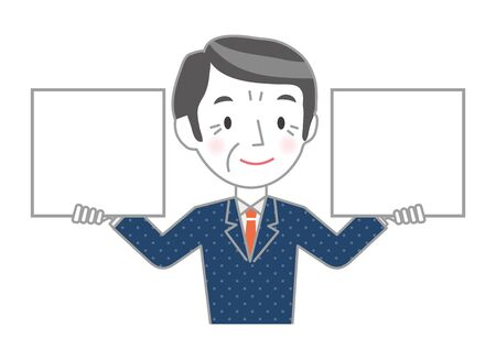 Illustration of a senior businessman holding a whiteboard in his hands Vectores