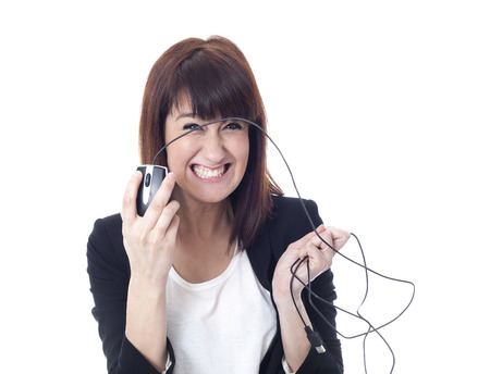 Crazy businesswoman with computer mouse photo