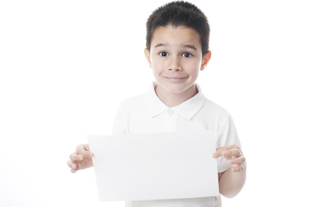 Smilling child with sheet of paper. photo