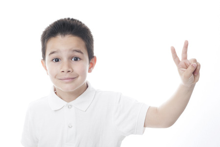 peace sign: Child showing peace sign.