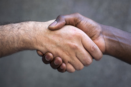 Multirracial handshake. Isolated on white.