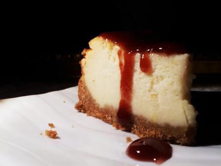 Cheesecake with raspberry compote Фото со стока