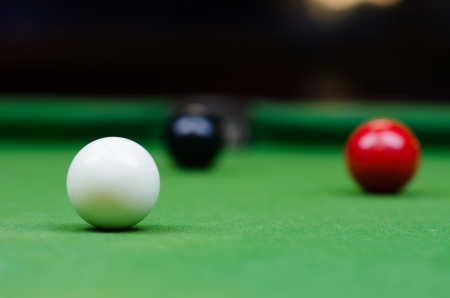 snooker balls: White, black, and red snooker balls on the table