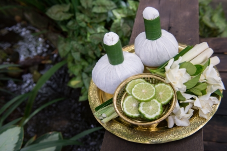 Thai traditional body care set and herb balls photo