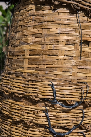 industrail: Woven cane baskets stack 3 Stock Photo