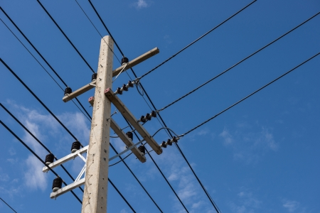 electrical post by the road with power line cables photo