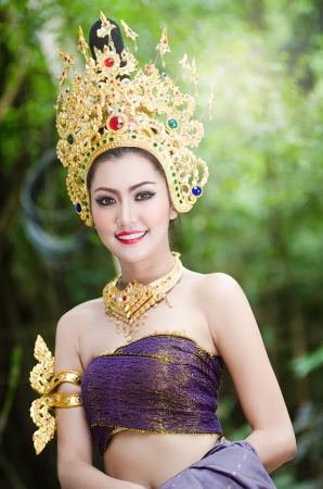 Thai women in Thailand national costume photo