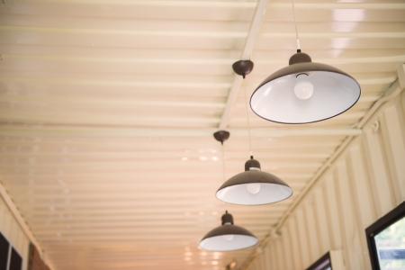 Arrangement of hanging lighting Stock Photo