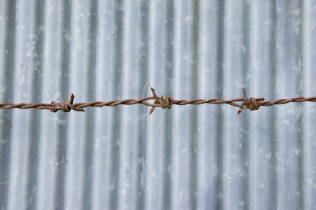 galvanized iron plate and Barbed wire photo