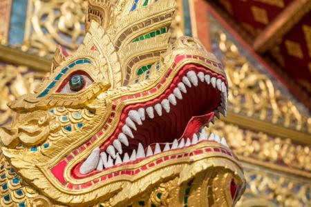 golden naga in Temple of Thailand photo