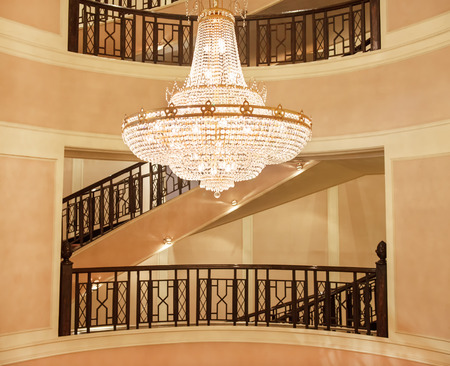 beautiful crystal chandelier in a roombeautiful crystal chandelier Stock Photo
