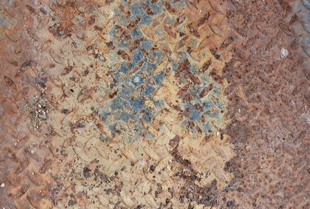 diamondplate: old metal diamond plate with white paint on surface Stock Photo