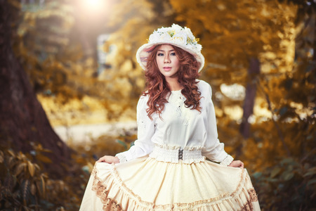 Beautiful lady in vintage outfit photo