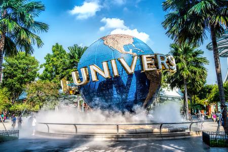 SINGAPORE - OCT, 28 UNIVERSAL STUDIOS SINGAPORE sign on October 28,2014. Universal Studios Singapore is a theme park located within Resorts World Sentosa on Sentosa Island, Singapore Editoriali