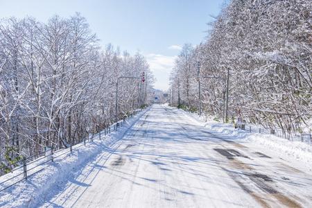 powder snow: powder snow on a road in Sapporo, Hokkaido Japan Stock Photo