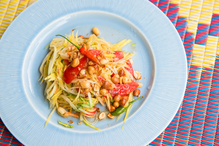 Famous Thai food, papaya salad or what we called Somtum in Thai photo