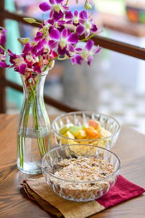 Homemade granola on wood table photo