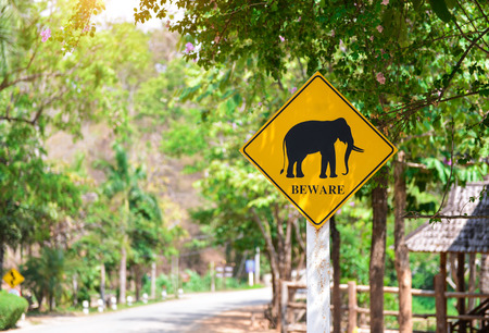 beware: Beware Elephants crossing the road sign Stock Photo