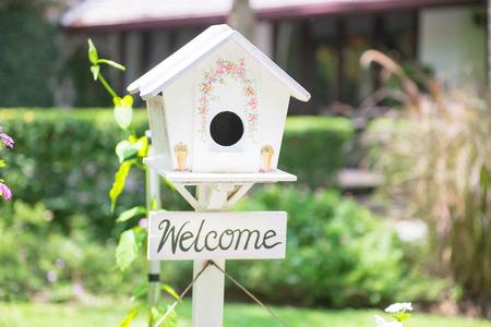 white bird: White bird house in the garden