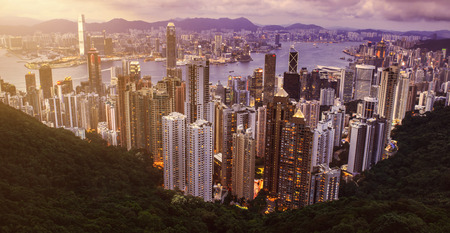 HONG KONG - JUNE 08, 2015: skyline of Hong Kong from Victoria Peak. Hong Kong. JUNE 08, 2015 Editorial