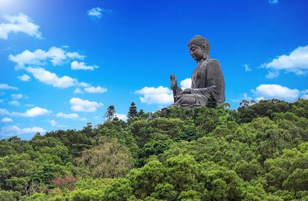 Giant Buddha/Po Lin Monastery in Hong Kong, Lantau Island Archivio Fotografico