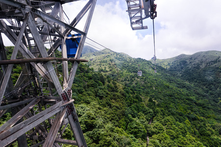 previously: HONG KONG, JUNE 09, Ngong Ping 360 is a tourism project on Lantau Island in Hong Kong on 09 june 2015. The project was previously known as Tung Chung Cable Car Project