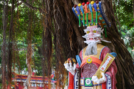 repulse: God Statue in Guan Yin Temple at Repulse Bay, Hong Kong Stock Photo