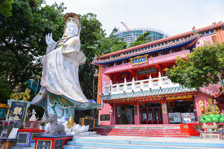 HONG KONG - JUN 12: Repulse Bay, is a bay in the southern part of Hong Kong Island and Kwan Yin Temple Shrine is a Taoist shrine at the southeastern end of Repulse Bay on June 12, 2015.