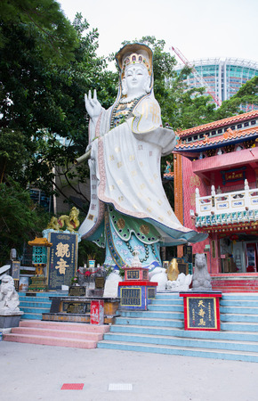 repulse: HONG KONG - JUN 12: Repulse Bay, is a bay in the southern part of Hong Kong Island and Kwan Yin Temple Shrine is a Taoist shrine at the southeastern end of Repulse Bay on June 12, 2015.