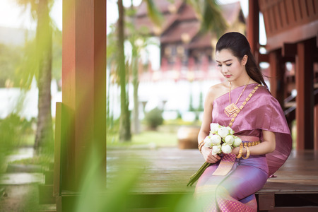 thai dance: Beautiful Thai girl in Thai traditional costume