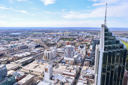 PERTH, AUSTRALIA - JUL 27, 2015: skyscrape of Perth City, is the capital and largest city of the Australian state of Western Australia, on July 27, 2015 Editorial