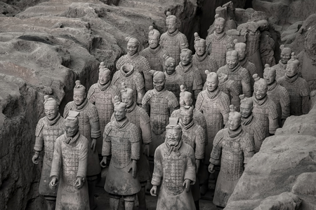 imperialism: XIAN,CHINA -OCT 24 :The Terracotta Army or the Terra Cotta Warriors and Horses buried in the pits next to the Qin Shi Huangs tomb in 210-209 BC. October 24, 2015 in Xian of Shaanxi Province, China. Editorial