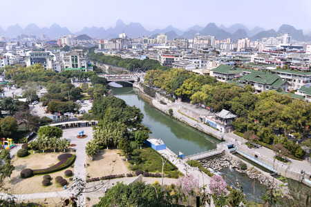 Panoramic view of Guilin city, China